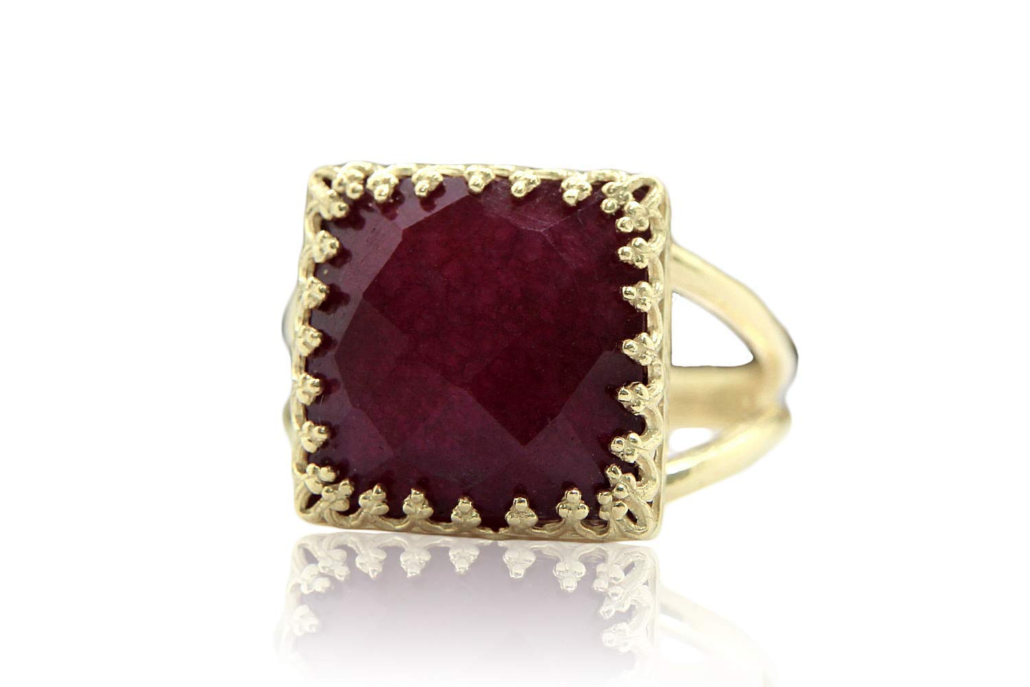 Anemone Jewelry 10CT Ruby Ring - Elegant Gold Ring Jewelry for Everyday Use - Stylish Unique Ring for Women - Handmade