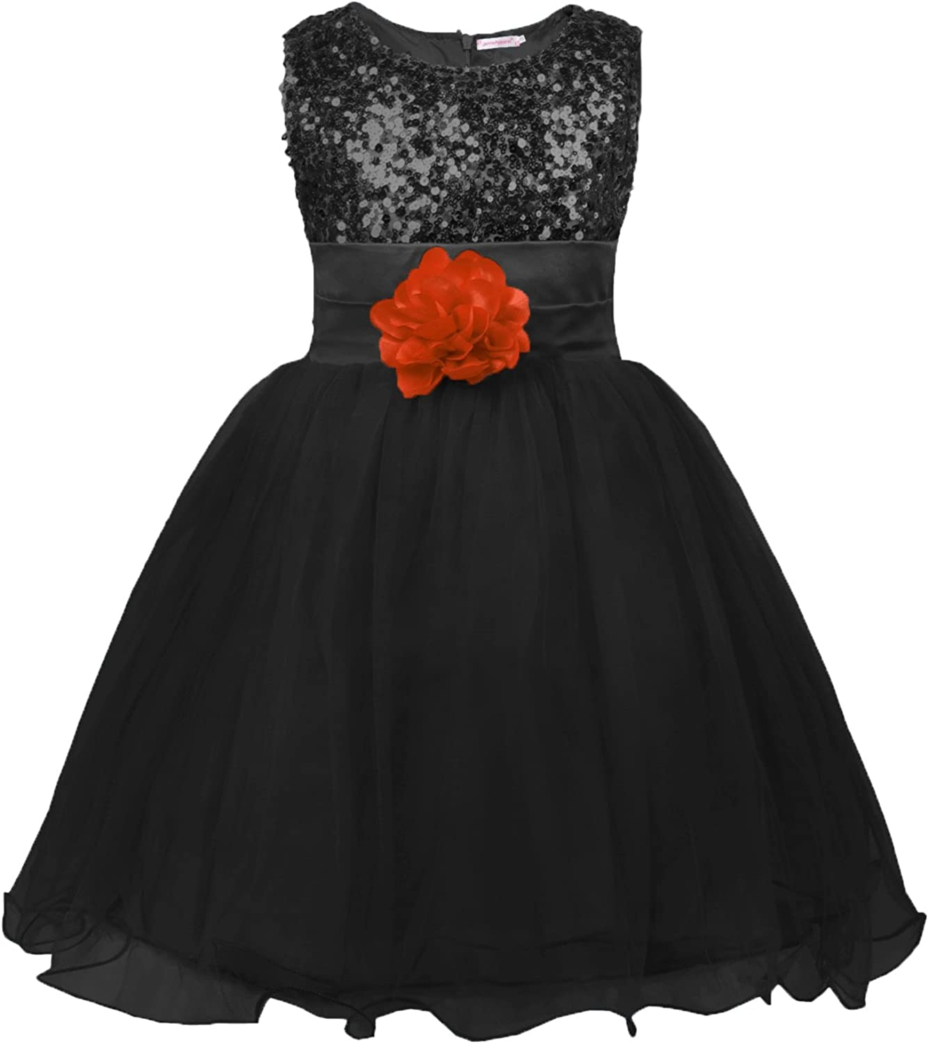 JerrisApparel Little Girls Sequin Mesh Flower Ball Gown Party Dress Tulle Prom