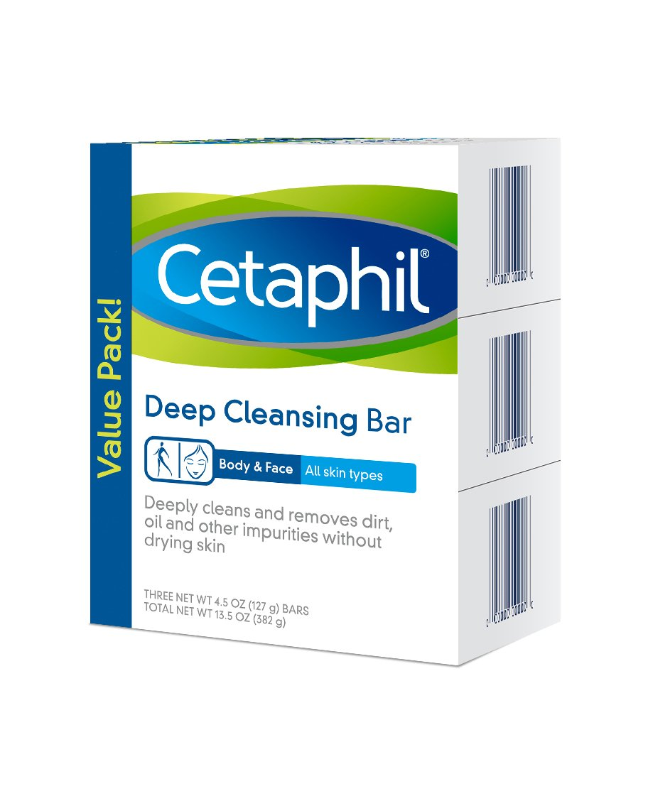 Cetaphil Deep Cleansing Face & Body Bar for All Skin Types (Pack of 3)