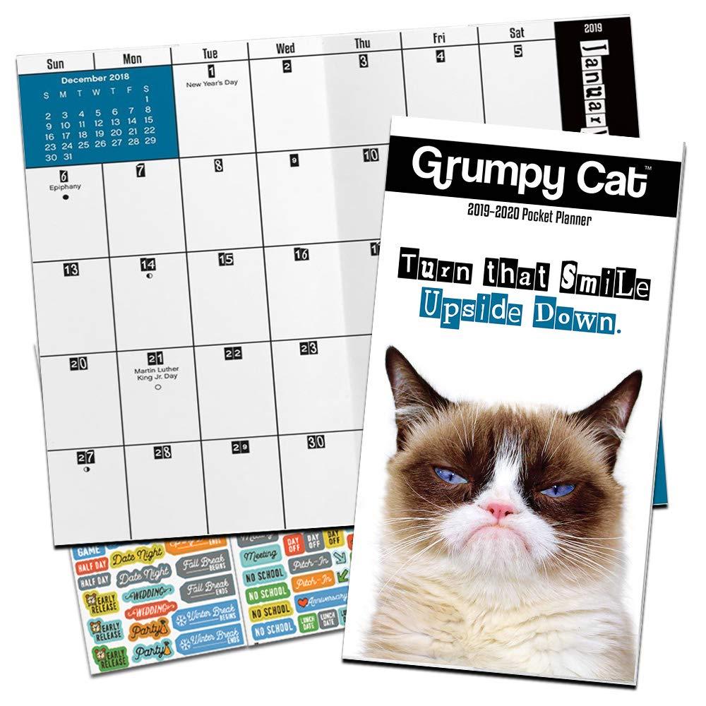 Grumpy Cat Monthly Pocket Planner 2019-2020 with DateWorks Calendar Stickers (2 Year Funny Cat Planner Calendar Bundle Set)