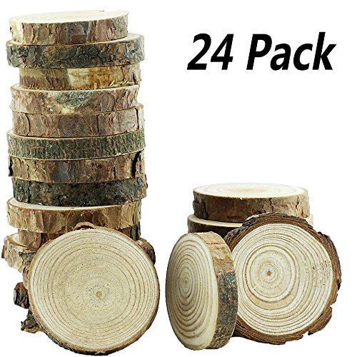 (Yexpress 24Pcs 2-2.5-Inch Unfinished Natural Thick Wood Slices Circles with Tree Bark Log Discs for DIY Craft Christmas Rustic Wedding Ornaments )