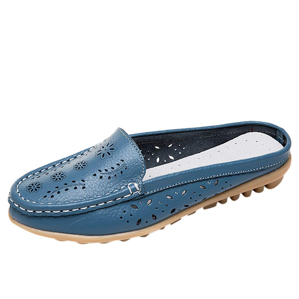 Leather Leather,ONLY TOP Women Casual Summer Breathable Slip-On Backless Slipper Mule Loafer Flats Shoes Hollow Out Blue by ONLYTOP_Shoes