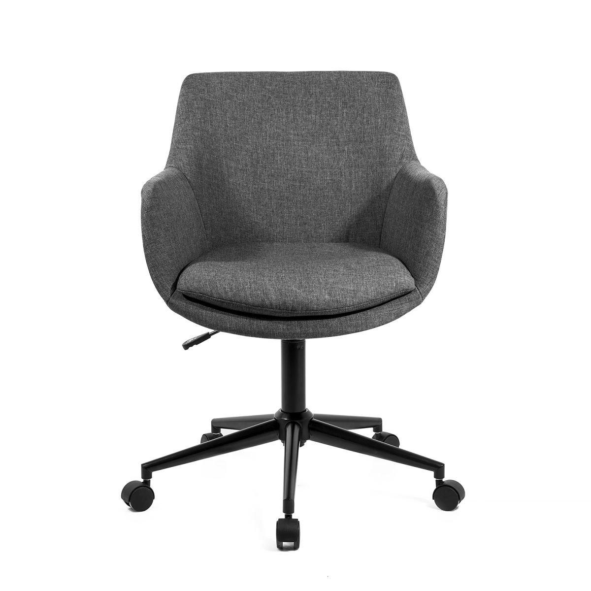 SKEI Fauteuil de bureau inclinable en métal - Polyester - Gris - Industriel - L 57 x P 58 cm