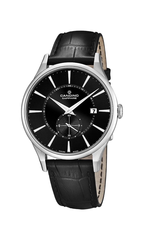 Candino Herren-Quarzuhr mit schwarzem Zifferblatt Analog-Anzeige und schwarz Lederband C4558-4