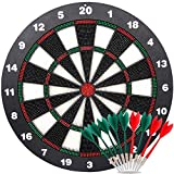 ylovetoys safety dart board set for kids, 16.4 inch rubber dart board with 9 soft tip safety darts