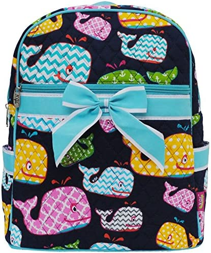 Adorable Whale Sea Print Quilted Backpack