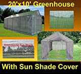 Green Garden Hot House Walk In Greenhouse 20'x10' Triangle Top + Sun Shade Cover - By DELTA Canopies