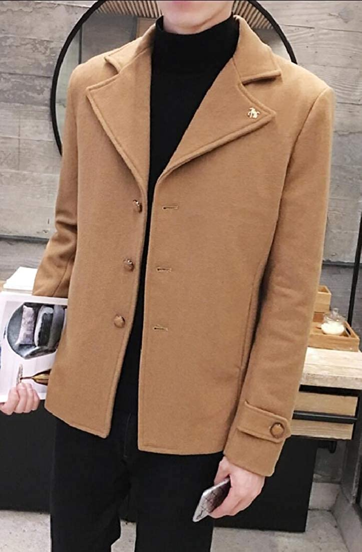 yibiyuan Mens Slim Fit Single Breasted Lapel Wool Trench Coat Windbreaker