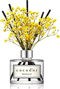 Cocod'or Preserved Real Flower Reed Diffuser, Refreshing Air Reed Diffuser, Reed Diffuser Set, Oil Diffuser & Reed Diffuser Sticks, Home Decor & Office Decor, Fragrance and Gifts, 6.7oz