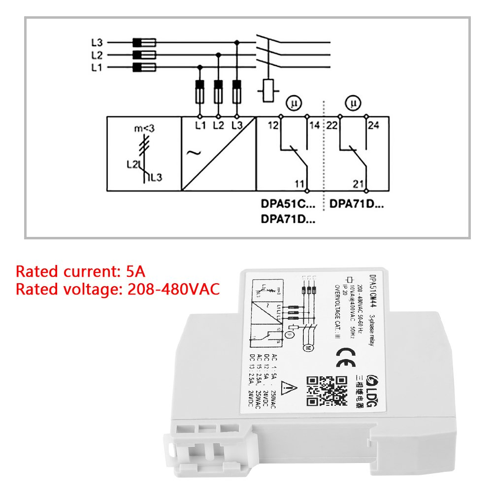 Dpa51cm44 3 Phase Monitoring Relay Current Voltage 480 Vac Wiring Diagram Free Download Schematic Sequence Protector For Three System Without Neutral Loss And Incorrect 208 480vac Industrial Scientific