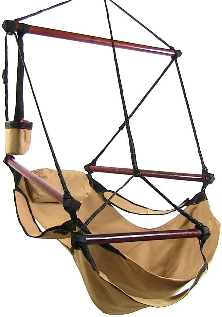 Sunnydaze Hanging Hammock Chair - 24 Inch Wide Seat - Tan - 250 lbs Weight Capacity