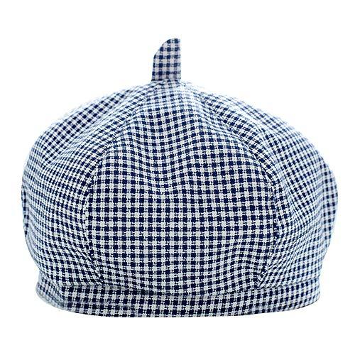Van Caro Children Autumn Spring Cotton French Beret Hat Little Girl's Artist (Navy Blue Plaid)