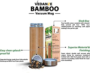Bamboo Tea Tumbler Mug With Infuser Strainer & Lid Strainer- Fully Insulated Vacuum Stainless Steel Travel Bottle With Filter For Hot & Cold Beverages Sweepstakes