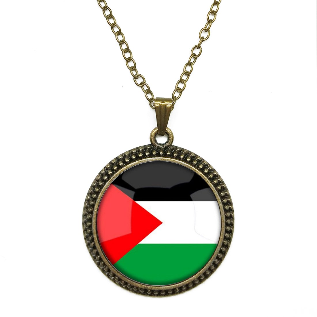 Fashion Necklace Pendant Jewelry The Hashemite Kingdom of Jordan National Flag Glass Dome Cabochon Steampunk Bronze Necklace