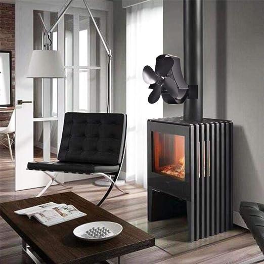 Ventilador para estufa de 4 aspas, ventilador para estufa colgado en la pared, ventilador para estufa de leña, tronco, estufa de leña, ecológico, silencioso, para casa, chimenea, ventilador, distribución de calor: Amazon.es: