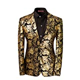 Mens Dress Floral Suit Notched Lapel Slim Fit Stylish Blazer Dress Suit