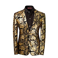 Men's Floral Notched Slim Fit Blazer