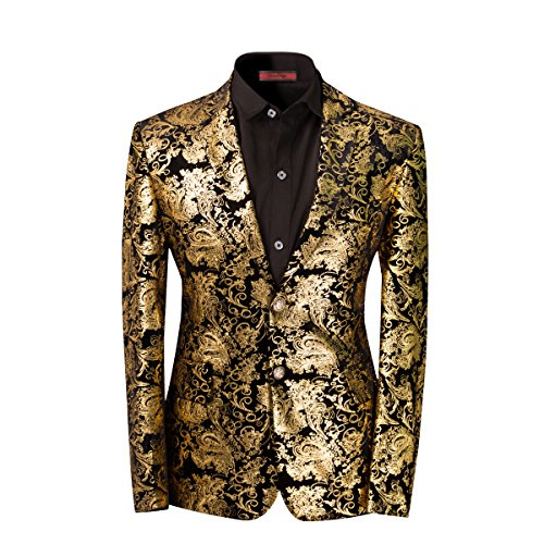 Men's luxury Casual Dress Suit Slim Fit Stylish Blazer Golden Large ()