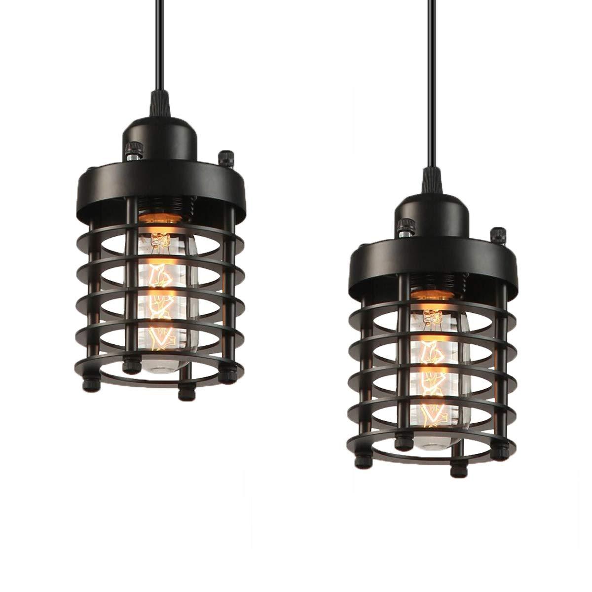 Industrial Pendant Light Licperron E26 E27 Base Edison Caged Industrial Hanging Pendant Light Vintage Pendant Light Fixture 2 Pack