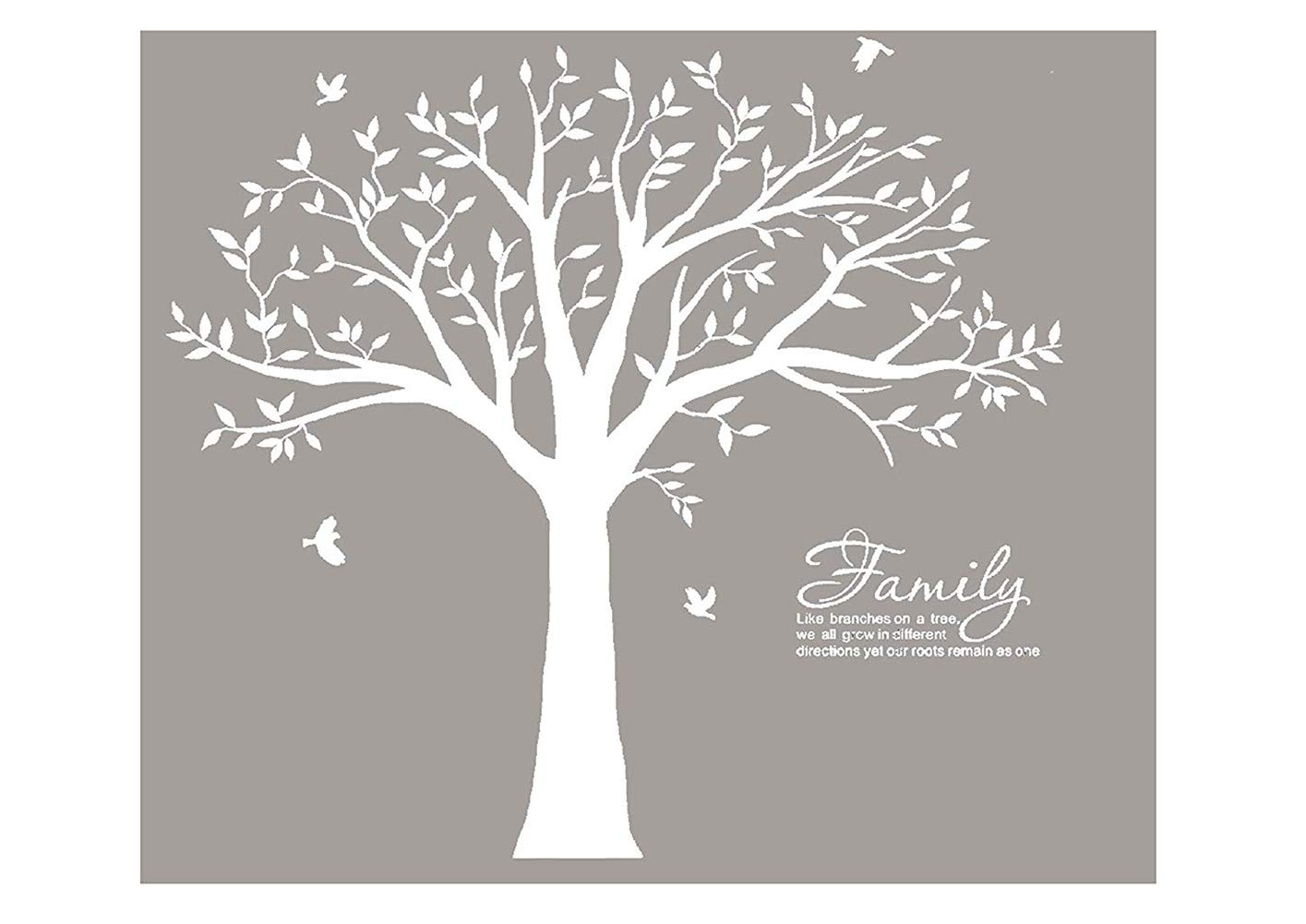MAFENT Family Tree Wall Decal Quote- Family Like Branches On A Tree Lettering Tree Wall Sticker for Bedroom Decoration (White) by MAFENT (Image #1)