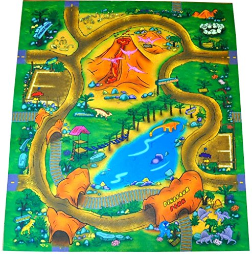 Dinosaur Mat (Dinosaur Felt Play Mat with Roads and Train Track Design)
