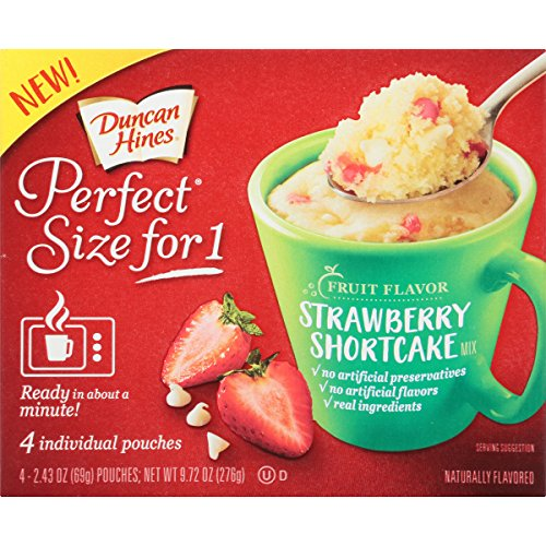 Duncan Hines Perfect Size for 1 Mug Cake Mix, Ready in About a Minute, Strawberry Shortcake, 4 individual pouches Duncan Hines Cookie Mix