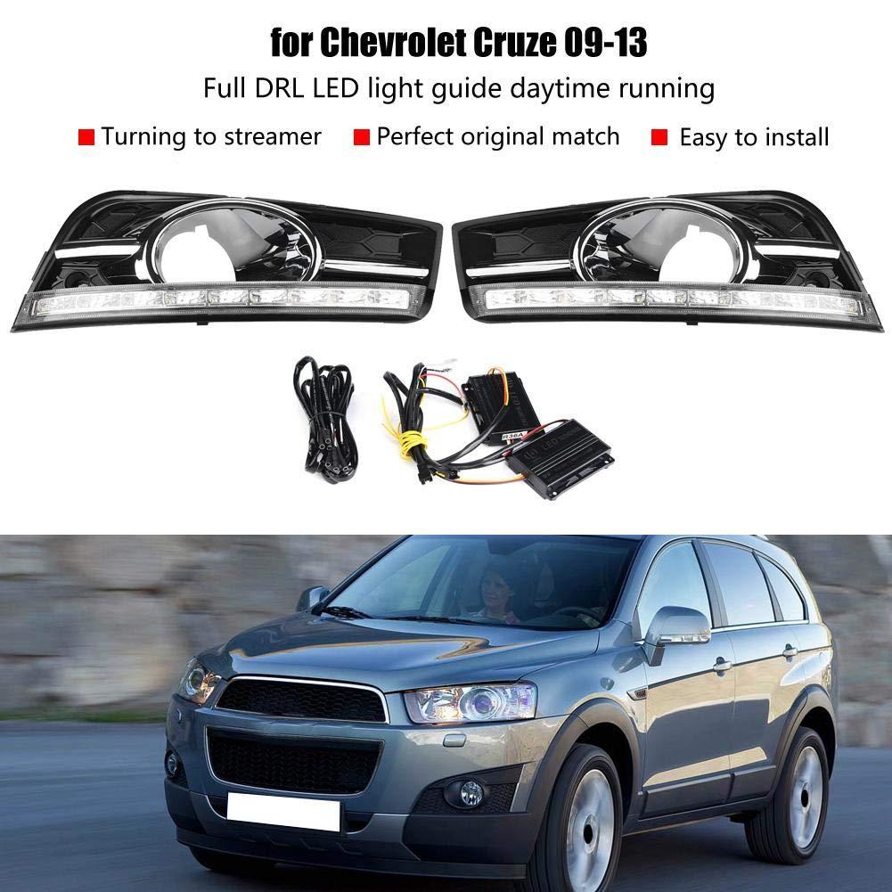2 colores luz de giro 1 par de luces de circulaci/ón diurna para coche luz de niebla LED DRL para Chev/_rolet Cru/_ze 09-13