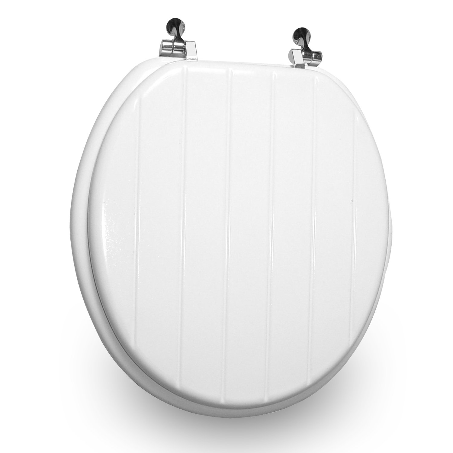 Trimmer Engraved Panel Design Wood Toilet Seat, White.