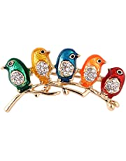 HENGSONG Colorful Bird Clothes Pin Brooch Shiny Rhinestone Pin Brooches for Women Jewelry for Girlfriend Her Valentine Christmas Birthday Gift