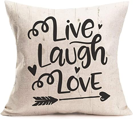 Amazon Com Asamour Live Laugh Love Letters Words Throw Pillow Covers Valentine S Day Cotton Linen Decorative Cushion Cover Pillow Case Home Sofa Pillowcase 18x18 Inches Live Laugh Love Arrow Home Kitchen