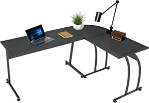 "SMAGREHO L Shaped Desk Computer Gaming Desk 57.8"", Modern Reversible L-Shape Corner Table, PC Laptop Writing Study Workstation for Home Office Wood & Metal, Black"