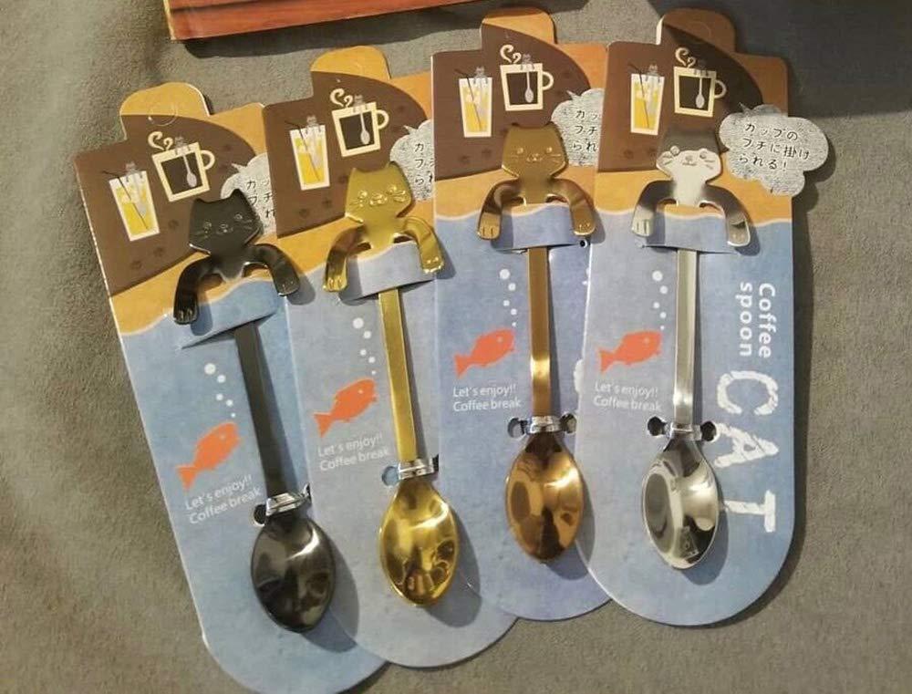 AYOMI 4 cucharitas de acero inoxidable, diseño de gatos, ideales para café, postres, bebidas, mezclar o batidos: Amazon.es: Hogar