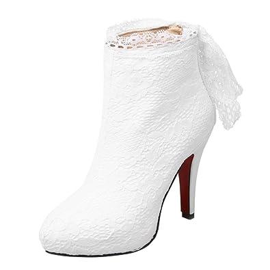 d855f8ffe10231 UH Damen Stiefeletten Plateau High Heels Stiletto Ankle Boots mit Spitze  Reißverschluss und Schleife Elegante Hochzeit