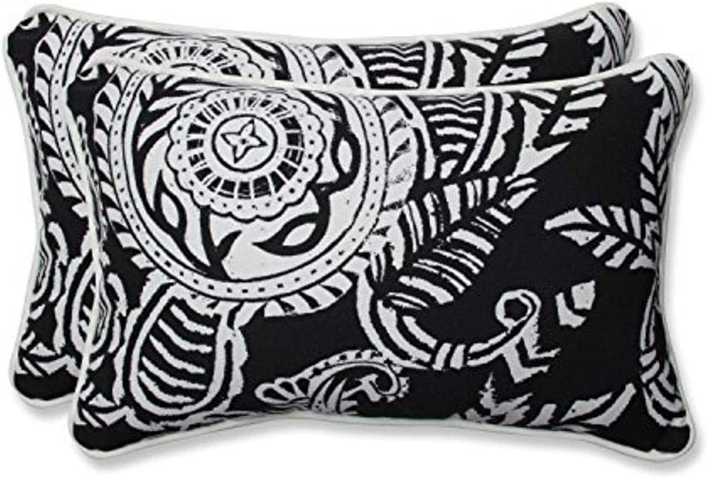 Pillow Perfect Outdoor Indoor Addie Night Lumbar Pillows, 11.5 x 18.5 , Black, 2 Pack