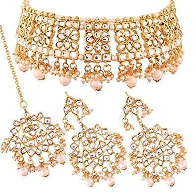 fcf52b3a1c3 Buy I Jewels Gold Plated Traditional Kundan Choker Necklace Set with  Earrings & Maang Tikka for Women (K7069W) Online at Low Prices in India |  Amazon ...