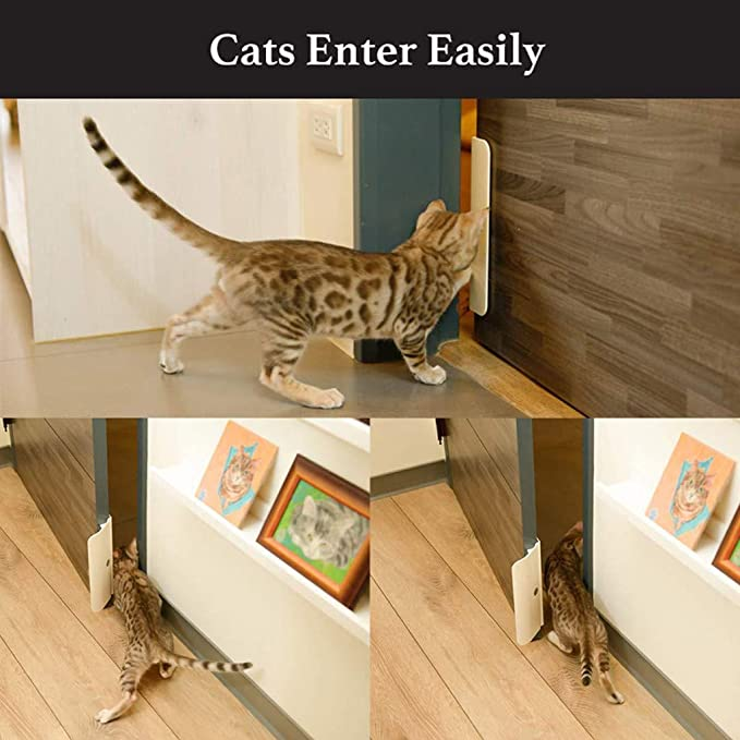 Self-Closing Easy Door Opener for Dogs and Cats Abaimao Dogs Cats Door Opener Semi-automatic Pets using Entry of Room and Toilet in your Home White