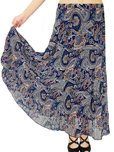 NASHALYLY Long Chiffon Skirts for Women, Maxi Skirts Bohemian Ankle Length Beach Skirt Plus Size