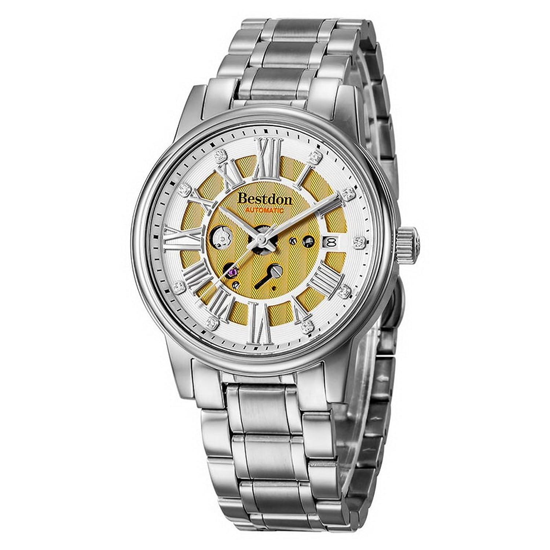Souarts Herren Sliber Farbe Wasserdicht Mechanische Automatik Skelett Armbanduhr mit Edelstahl Zifferblatt Kalender