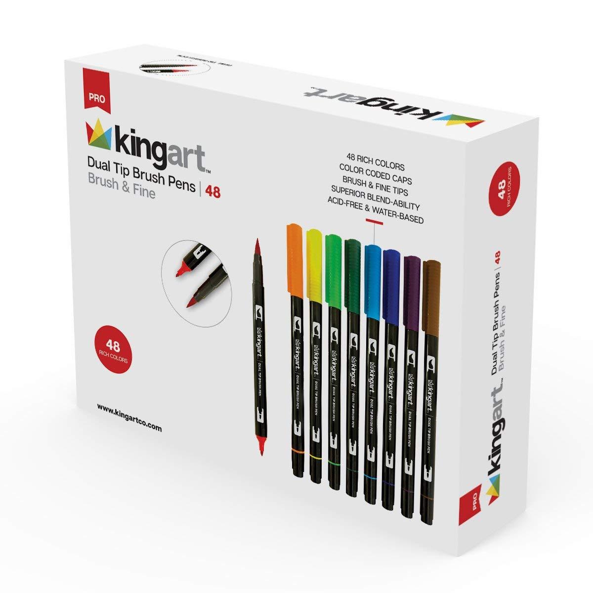 KINGART 445-48 Set of 48 Dual TIP Brush PENS, 48 Piece