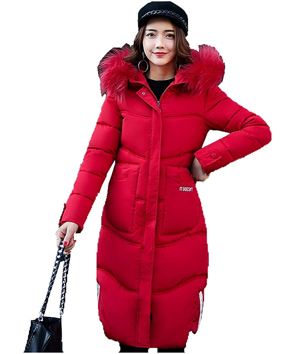 COMVIP Women Plus Size A Line Thick Quilted Faux Fur Hood Parkas Coat 6FDZ197