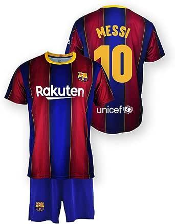 Set van shirt en broek replica FC Barcelona 1. EQ seizoen 2020 – 21 – gelicentieerd product – Dorsal 10 Messi – 100% polyester – maat