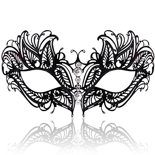 - FaceWood Masquerade Mask for Women Ultralight Metal Mask Shiny Rhinestone Venetian Pretty Party Evening Prom Ball Mask.(06)