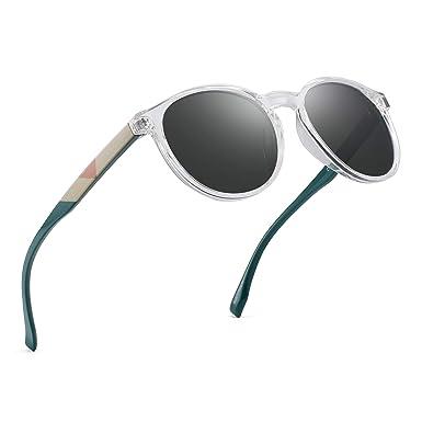 b7e6bd21dd4 Polarized Round Sunglasses Vintage Circle Lenses Clear Frame Shades Women  Men (Green Clear Polarized