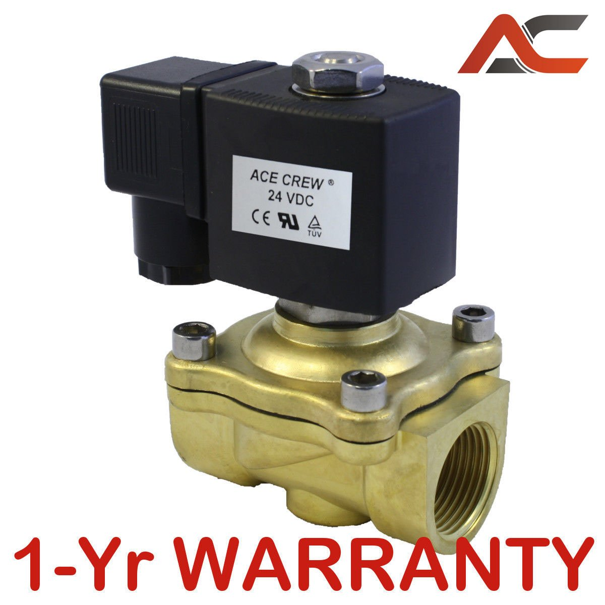 Solenoid Valve Air Water Gas Oil Brass Normally Closed DC12V//24V AC220V BSP