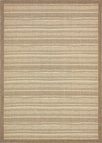Unique Loom Outdoor Border Collection Striped Moroccan Transitional Indoor and Outdoor Flatweave Beige  Area Rug (8' 0 x 11' 4)