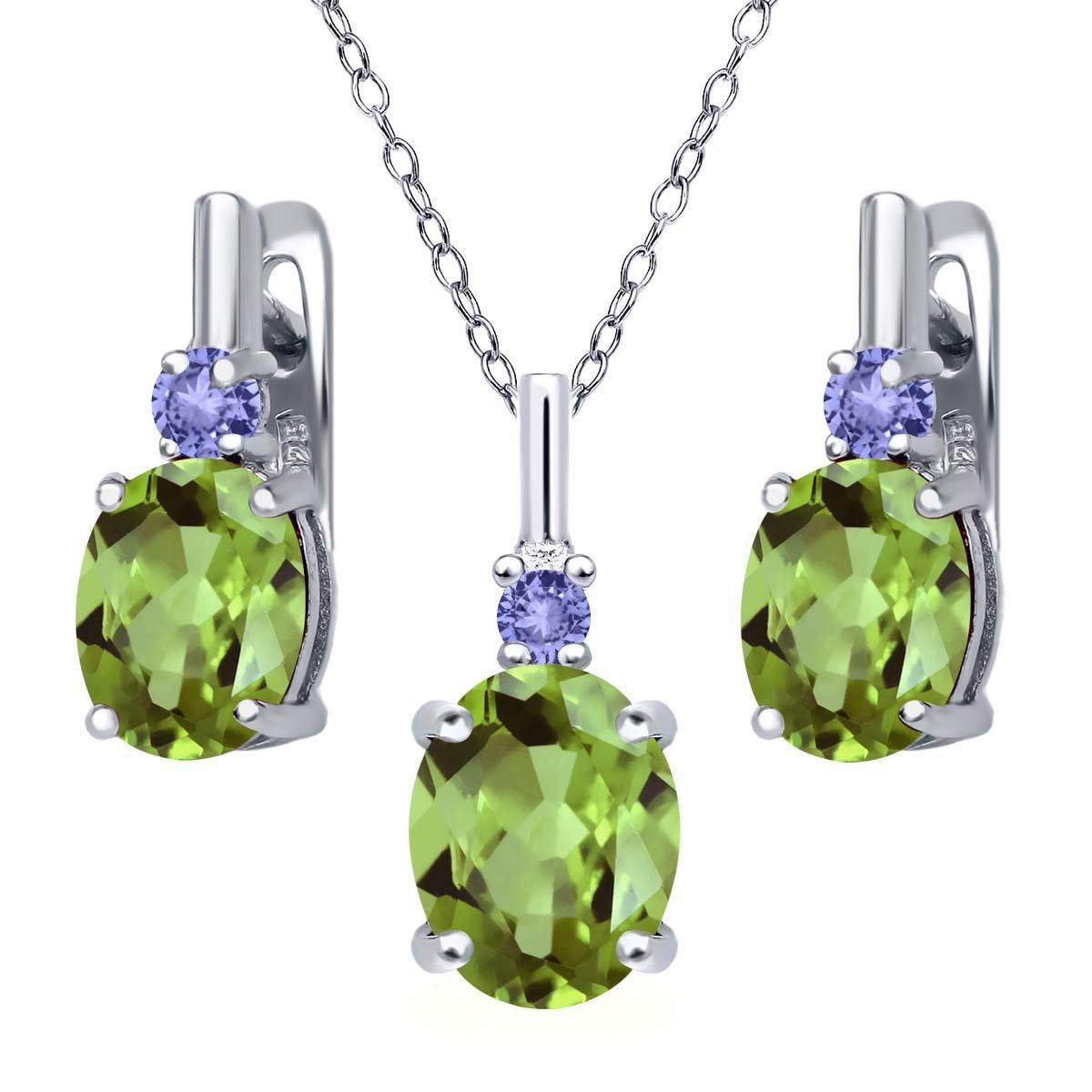 4.13 Ct Oval Green Peridot Blue Tanzanite 925 Sterling Silver Pendant Earrings Set