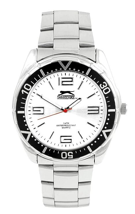 Slazenger SLZ 101/A - Reloj analógico de cuarzo para hombre con correa de acero inoxidable, color plateado: Amazon.es: Relojes