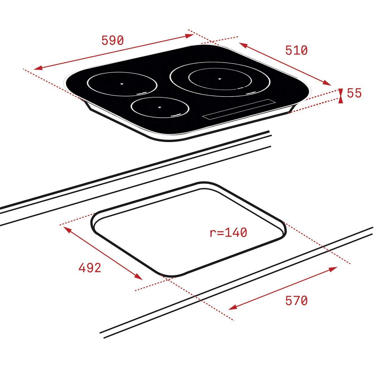 Teka IRC 6320 Integrado Con - Placa (Integrado, Con placa de inducción, Negro, 1800 W, Alrededor, 14,5 cm)