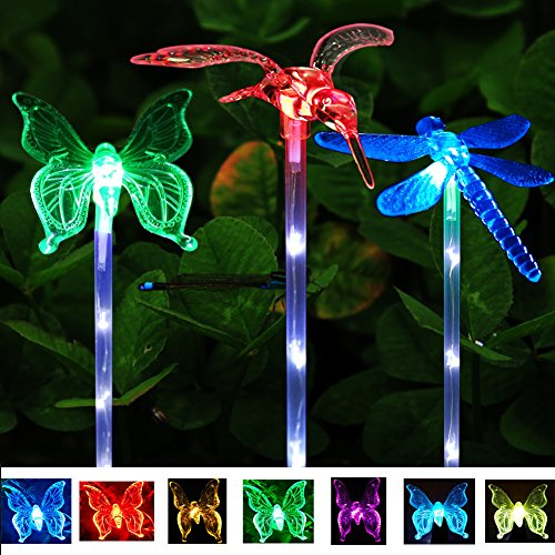 3 Pack Solar Garden Stake Lights, Upgraded Multi-color Changing LED Solar Stake Lights with Clear Butterfly Dragonfly Hummingbird Stake for Outdoor Garden Pathway Lawn Yard
