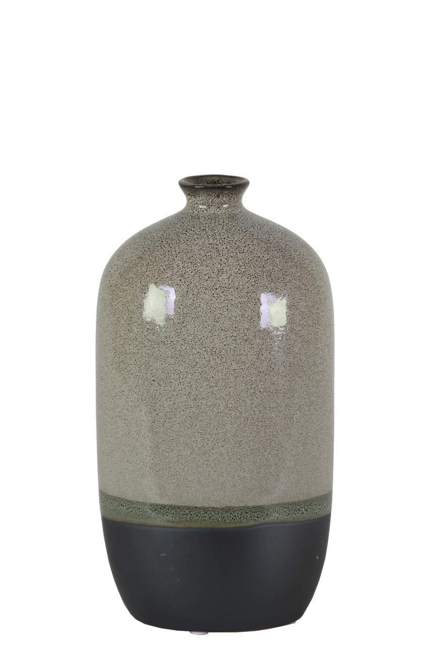 Gray and Black Benzara BM181978 Stoneware Bottle Vase